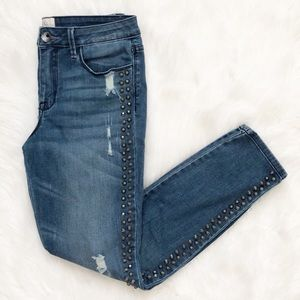Rachel Roy Studded Distressed Skinny Ankle Jeans